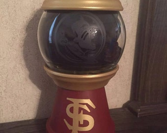 FSU Decor: candy dish, Florida State University faux gumball machine, Fear the spear, FSU Seminole candy dish, pet treat dish, Nole Nation