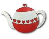 Love heart teapot - hand painted wooden brooch. Rockabilly, retro, vintage, pin up style.