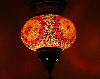 Boho Bohemian Decor Handmade Multicolour Turkish Mosaic Glass Hanging Lantern Lamp Pendant Light Lampshade