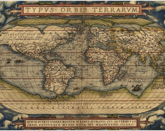 Ortelius Map Of The World From 1570 Poster Latin Historic 24x36