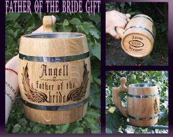 Wedding Gift Parents/Father Of The Bride Gift/Father Wedding Gift/Wedding Gift Dad/Wooden Beer Mug/Dad Wedding Gift From Daughter Dad Gifts