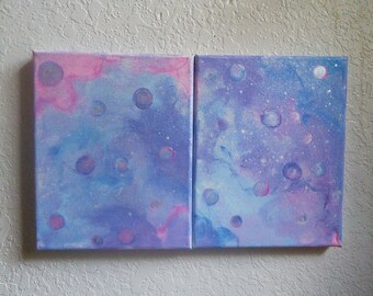 In the Name of the Moon Abstract Painting Set of 2 8x10 Acrylic on Canvas