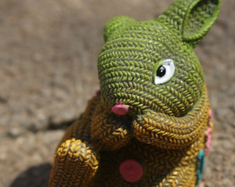 Ceramic Bunny w/ Knitted Look ~ Cute