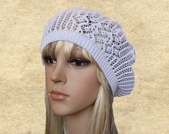 Summer lace beret, Cotton beret beanie, Light weight beret, Beret for summer, Lace knit beret, Light thin suns hat, Suns beret hats