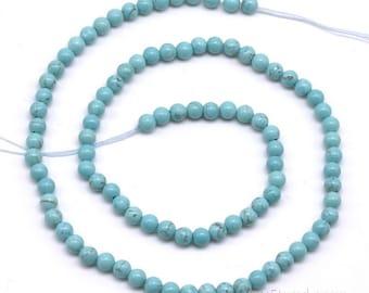 Turquoise beads, 4mm round, natural turquoise beads, gemstone beads, genuine stone wholesale loose gem stone beads, TQS2010
