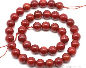 Red coral beads, 10mm round, natural gemstone beads, round red coral stone beads, gem stone beads loose strands, craft supplies, CRL2060
