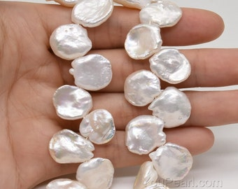 AA+ large Keshi corn flake pearls, 12-15mm white petal pearl, side drilled Keishi petal freshwater pearls beaded string wholesale, FK850-WS