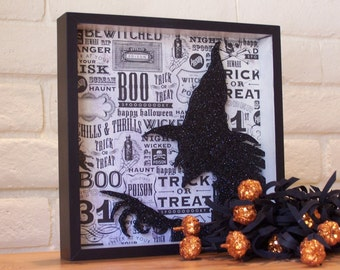 Wicked Witch Shadow Box, Halloween Decoration, Black Witch, Holiday Decor, Black and White, October 31, Gift