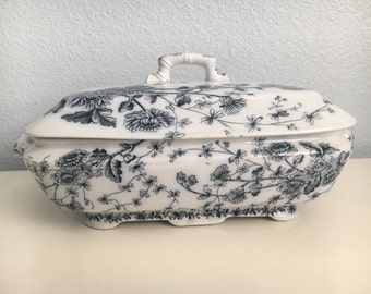 English Blue Transferware Tureen by W.H.Grindley & Co. Tunstall - Spring