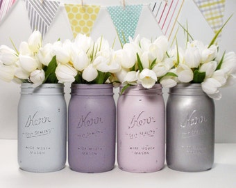 4- Hand Painted Quart Wide Mouth Mason Jar Flower Vases-Madison Collection-Country Decor-Cottage Chic-Shabby Chic-French Chic