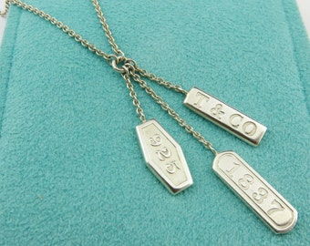 Authentic Tiffany & Co Sterling Silver 1837 Elements Dangle Necklace