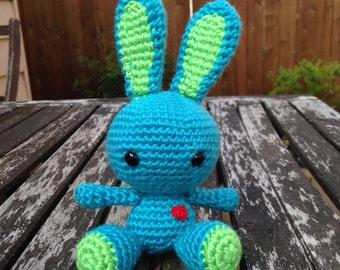Crocheted Bunny Plush: Blue Raspberry