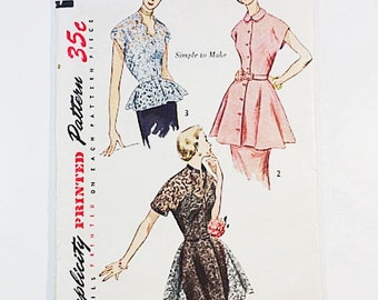 50s Peplum Blouse Pattern | Simplicity 3535 Misses Blouse Pattern | 50s Sewing Pattern