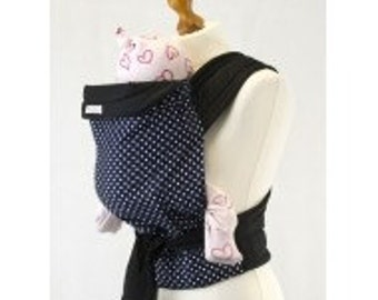 Palm and Pond Mei Tai Baby Carrier - Blue with White Polka Dots
