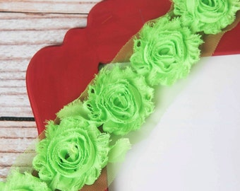 Lime Green shabby flower trim by the yard, green shabby rose trim, wholesale flower trim, shabby trim, chiffon trim, flowers by the yard