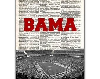 University of Alabama Crimson Tide Art Print - Vintage Dictionary Art - Bryant-Denny Stadium Print - Roll Tide