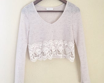 Small Festival Knit Lace Crop Top