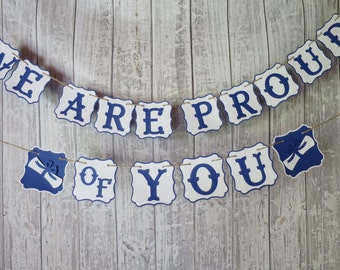 We Are Proud of You Banner, FREE US SHIPPING, Graduation Banner, Congratulations Banner, Class of 2017, Custom Banner, School Colors