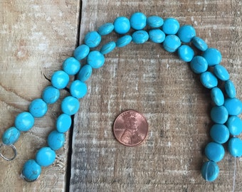 Turquoise Howlite 10mm coin bead, 8 inch strand