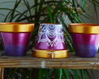 Handpainted Ombre Terra Cotta Pots, Jewel Toned, Cactus & Succulent planters, Henna pattern, Flower pot, Lotus flower, boho decor, bohemian