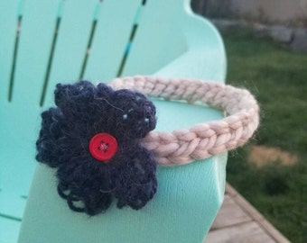 Crochet infants headband with flower and button