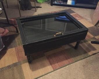 FALL SALE   Shadow Box Coffee Table   Distressed Black Coffee Table    Storage Coffee Table