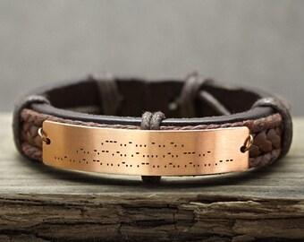 Morse Code Bracelet,  Morse code jewelry, Hidden Message Bracelet, Custom Mens Leather Bracelet, Engraved Bracelet, Genuine Leather Cuff