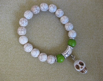 Scull Natural Off White Howlite Charm And Beads Beaded Stretch Stackable Bracelet Friendship Bridesmaids Valentine Gift For Her