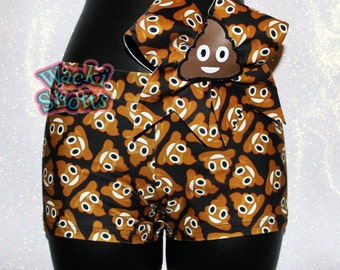 Oh Poo - Wacki Bow Set - Awesome Poo Emoji Wacki shorts and matching bow!