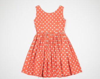 50s orange dress with white polka dots in cotton