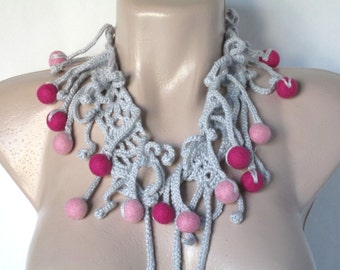 Fiber Art Jewelry Freeform Crochet Fiber Necklace Crochet neckpiece Crochet Collar Felted Beads Elegant Necklace