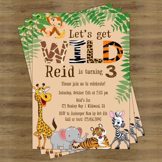 Safari Birthday Invitation Jungle Birthday Invitation Zoo