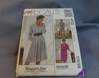 Womens Dress and Jumpsuit Size 16, 18, 20, Uncut Pattern,  McCall's 4102 Easy Cut To Fit