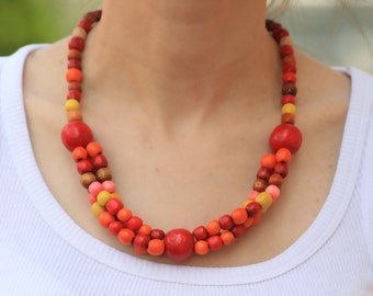 Red orange Wooden Bead Necklace, Tribal Necklace, Safari Necklace