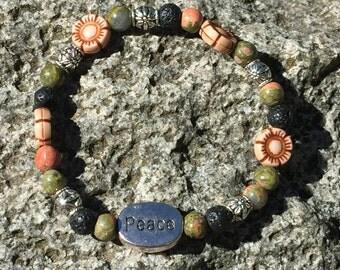 Essential Oil Bracelet with Lava Stones