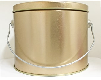 12 KIDS Pails Can Buckets Gold Metal Tin Party Favor School Pre Printed LogGreat with Self Printed Labels or Paint