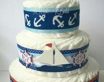 Nautical Diaper Cake, Diaper Cake, Boy Diaper Cake, Baby Shower, Baby Shower