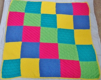 Hand-Knit Reversible Color Block Baby Blanket.