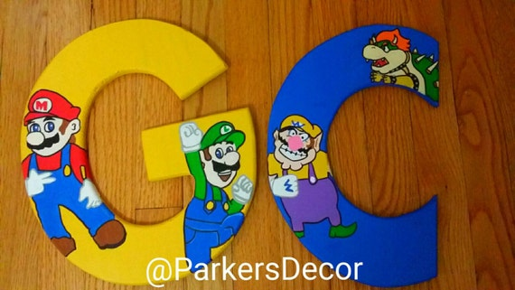 Super Mario Brothers-Mario & Luigi wooden letters- room decor