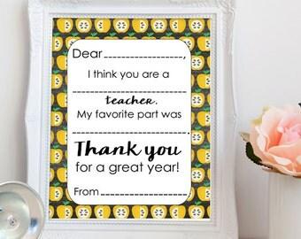 PRINTABLE teacher appreciation letter, thank you teacher letter printable, printable teacher gift, 8x10 printable letter, INSTANT DOWNLOAD