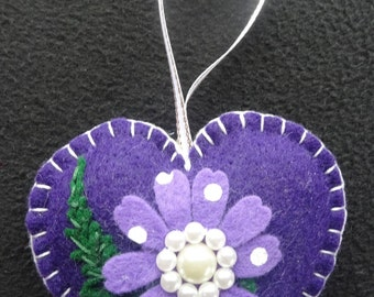 Gorgeous deep purple felt heart with a hint of lavender.