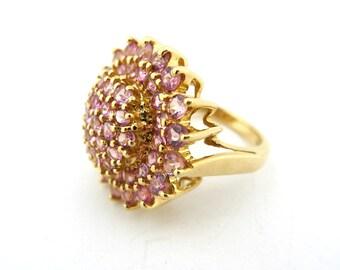14K Yellow Gold Pink Tourmaline Cluster Ring