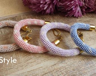 Bead Crochet Bracelet Beige bracelet Pink bracelet Blue bracelet Purple bracelet pastel bracelet beadwork bracelet beaded bracelet cute gift