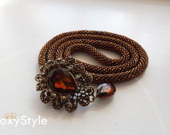 Brown necklace Beaded crochet dark brown beaded necklace Beadwork jewelry Seed bead necklace bronze necklace Elegant necklace Romantic