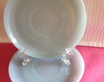 Two (2) 1950's Fire King Oven Ware Azurite Saucers
