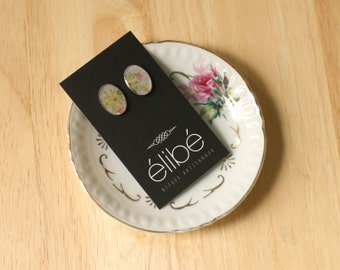 Button earrings with various resins