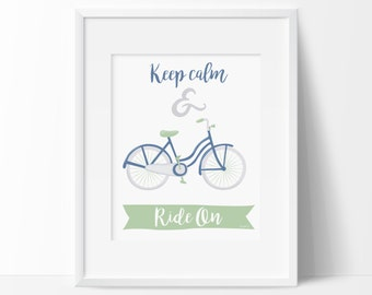Illustrated quote print, Scandinavian quote, Bicycle printable, Vintage bicycle print, Office decor, Nordic home decor