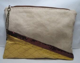 Pouch, yellow golden beige handbag