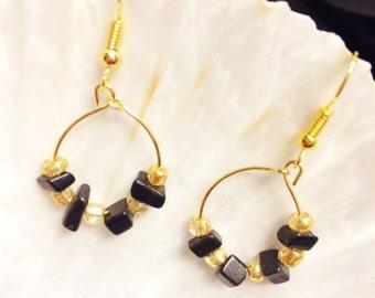 Black and gold hanging earrings modern earrings