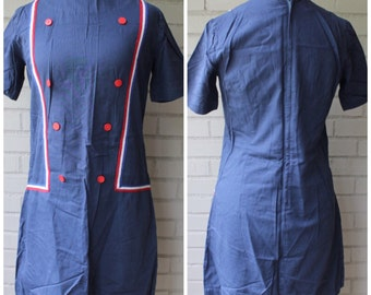 1960s Mod Navy Mini Shift Dress with Buttons -  Vintage 60s - Size Medium, 6-8